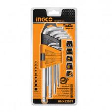 Набор шестигранных ключей с шаром  INGCO HHK12091 INDUSTRIAL