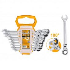 Набор комбинированных гаечных ключей с трещоткой INGCO HKSPAR1083