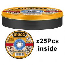Абразивный отрезной диск по металлу 25 шт 115 мм INGCO MCD1211525
