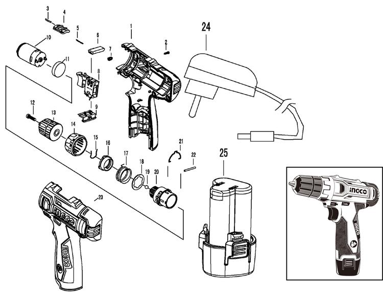 Взрыв-схема шуруповерта CDLI228120